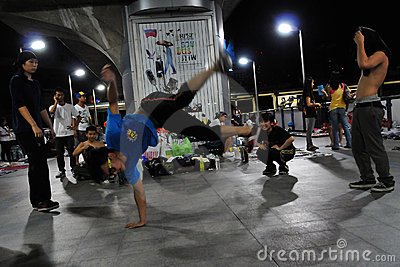 Bangkok B-Boy Breakdancing in the Street Editorial Image