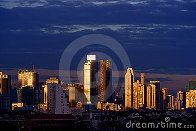 Bangkok Business District at Dusk Editorial Photo