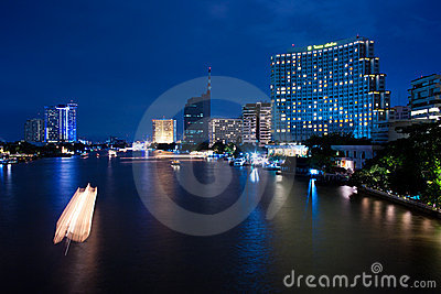 Bangkok, Chao Phraya River By Night Editorial Image