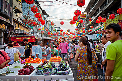 Bangkok China Town Editorial Photography