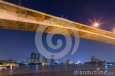 Bangkok cityscape. Bangkok river view at twilight time.