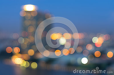 Bangkok cityscape river view at twilight time, Blurred Photo bok