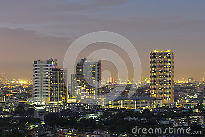 Bangkok cityscape at twilight time.