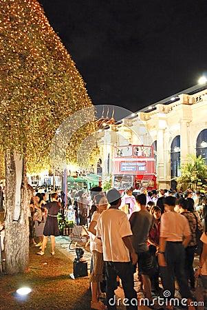 Bangkok-Dec 7:Tourists enjoy the night at Grand Pa Editorial Photography