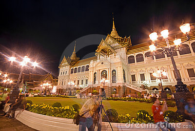 Bangkok-Dec 7:Tourists enjoy the night at Grand Pa Editorial Image