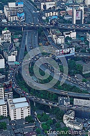Bangkok en la hora punta Imagen de archivo editorial
