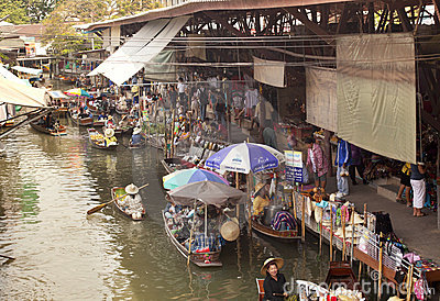Bangkok Floating Market Editorial Stock Photo