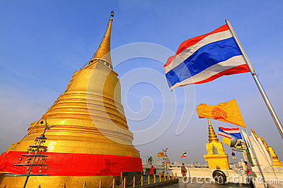 Bangkok Golden Mountain Temple And Thailand Flag Editorial Stock Image