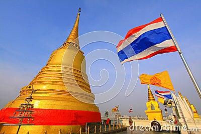 Bangkok Golden Mountain Temple And Thailand Flag Editorial Stock Image