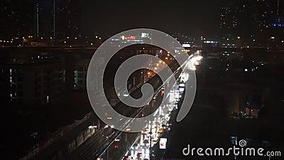 Bangkok in Heavy Rain Night, September 2015, Bangkok, Thailand. The tropical storm Vamco hits Thailand in September 2015 stock video footage