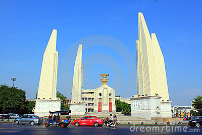 Bangkok Landmark – Democracy Monument Editorial Stock Photo