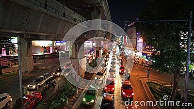 Traffic jam at Pathumwan junction in Bangkok Editorial Stock Image