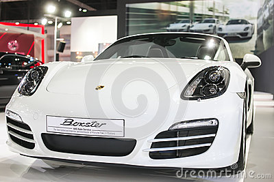 Bangkok -March 27 : All new white Porsche GT3 at The 35th Bangkok International Motor Show, Concept Beauty in the Drive on March