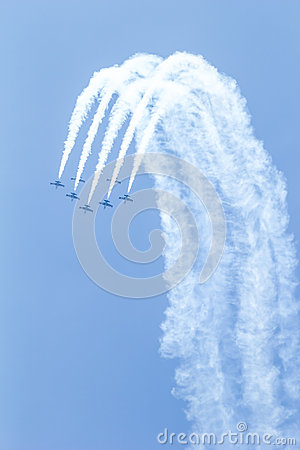 BANGKOK - MARCH 23:Breitling Jet Team Under The Royal Sky Breitling Team and Rayal Thai Air Force Air Show at Donmueang Bangkok Editorial Image