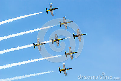 BANGKOK - MARCH 23:Breitling Jet Team Under The Royal Sky Breitling Team and Rayal Thai Air Force Air Show at Donmueang Bangkok Editorial Stock Image