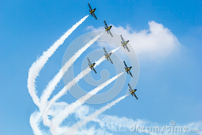 BANGKOK - MARCH 23:Breitling Jet Team Under The Royal Sky Breitling Team and Rayal Thai Air Force Air Show at Donmueang Bangkok Editorial Photo