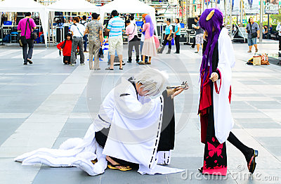 An unidentified Japanese anime cosplay pose. Editorial Stock Image