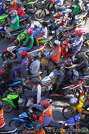 BANGKOK - Motorcycle in traffic jam Editorial Photo