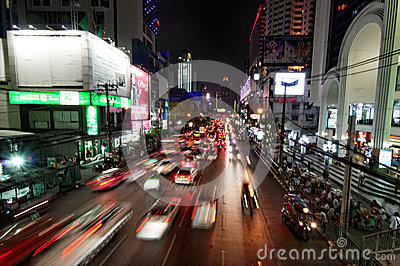 Bangkok night traffic