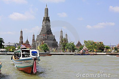 Bangkok Riverside Scene And Wat Arun Editorial Stock Photo