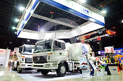 BANGKOK - September 21 : HUMAN TX-3334 Concrete Mixer Truck on d Editorial Photo
