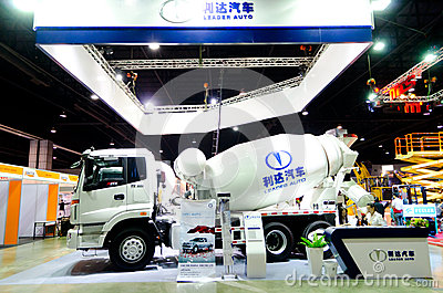 BANGKOK - September 21 : HUMAN TX-3334 Concrete Mixer Truck on d Editorial Image