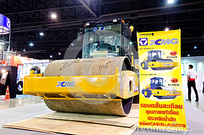 BANGKOK - September 21 : XCMG XS 122E Heavy Vibration roller on Editorial Stock Photo