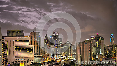 Bangkok Skyline hit by a storm at night editorial Editorial Photography