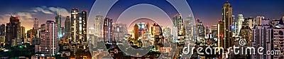 Bangkok Skyline night panorama Stock Photo