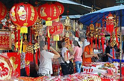 Bangkok, Tailandia: Decoraciones chinas del Año Nuevo Foto de archivo editorial
