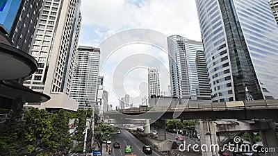 Bangkok, Tajlandia: Niebo pociągu ruch drogowy i budynek, pospiesznie biznesowy czasu upływ zbiory