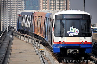 Bangkok, Thailand: BTS Skytrain Editorial Stock Image