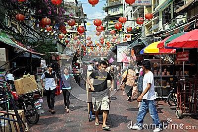 Bangkok, Thailand: Busy Chinatown Street Editorial Image