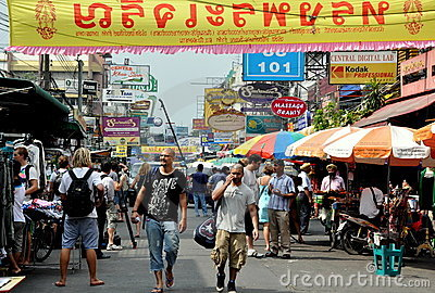 Bangkok, Thailand: Busy Khao San Road Editorial Stock Photo