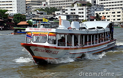 Bangkok, Thailand: Chao Praya River Ferry Boat Editorial Stock Photo