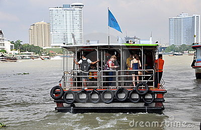 Bangkok, Thailand: Chao Praya River Ferry Boat Editorial Stock Image