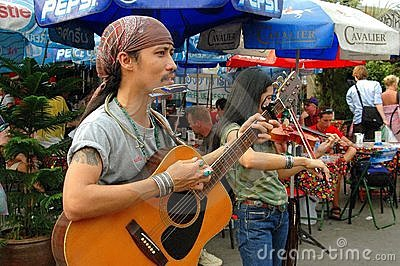 Bangkok, Thailand: Chatuchak Market Musicians Editorial Stock Photo
