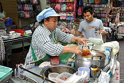 Bangkok, Thailand: Chinatown Food Seller Editorial Stock Photo
