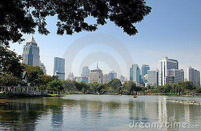 Bangkok, Thailand: City Skyline from Lumphini Park Editorial Photo