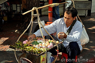 Bangkok, Thailand: Egg Seller in Chinatown Editorial Photography