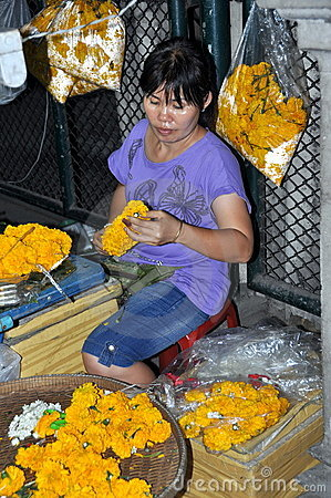 Bangkok, Thailand: Flower Seller Editorial Photography