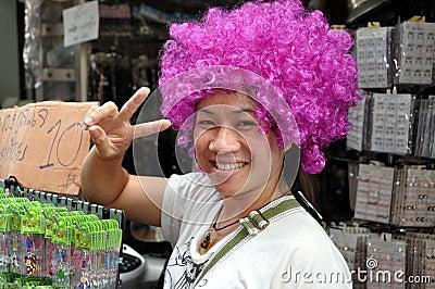 Bangkok, Thailand: Girl with Purple Wig Editorial Photography