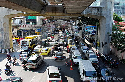 Bangkok, Thailand: Heavy Traffic on Rama I Road Editorial Stock Photo