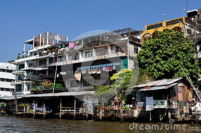 Bangkok, Thailand: Homes on Chao Praya River Editorial Photo