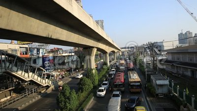 Traffic jam on the Centralworld area, January 19,2015 in Bangkok,Thailand. stock video footage