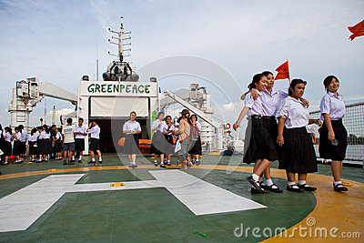 BANGKOK THAILAND-Jun 27:Unidentified young student walking on the esperanza ship of greenpeace  international environmental organi Editorial Stock Image
