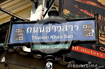 Bangkok, Thailand: Khao San Road Sign Editorial Photo