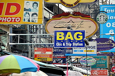 Bangkok, Thailand: Khao San Road Signs Editorial Image