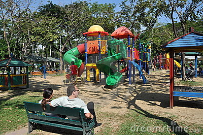 Bangkok, Thailand: Lumphini Park Playground Editorial Stock Photo