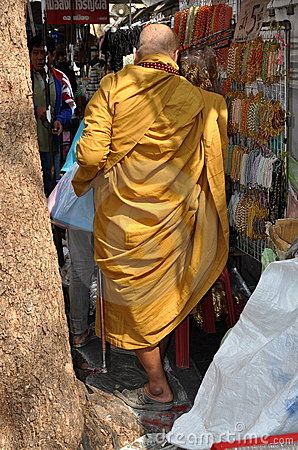 Bangkok, Thailand: Monk on Thanon Maha Rat Editorial Stock Image
